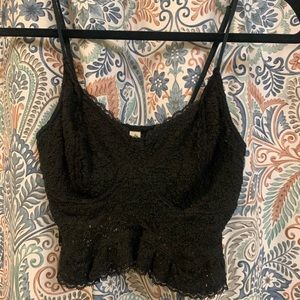 Free People Intimately black lace crop top